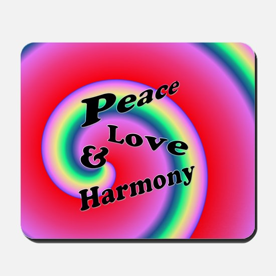 Love Peace & Harmony Swirl Mousepad