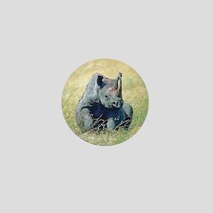 Seated Baby Rhino Mini Button