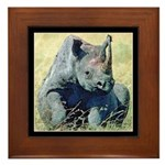 Seated Baby Rhino Framed Tile