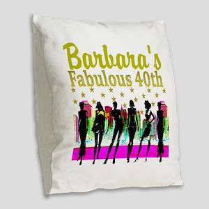 CUSTOM 40TH Burlap Throw Pillow