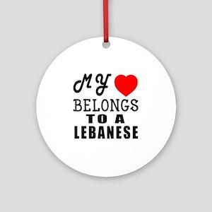 I Love Lebanese Round Ornament