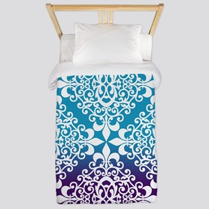 Ombre Purple And Teal Damask Twin Duvet