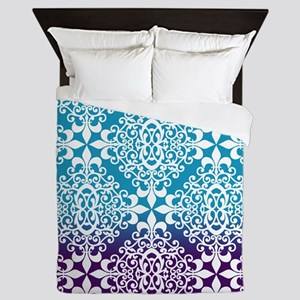 Ombre Purple And Teal Damask Queen Duvet
