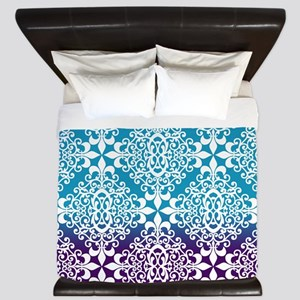 Ombre Purple And Teal Damask King Duvet