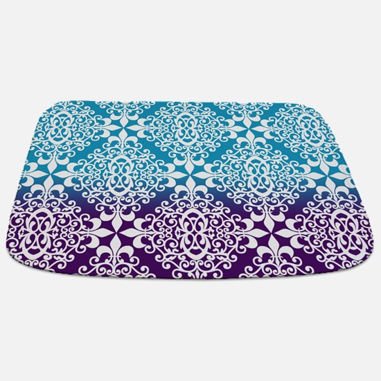 Ombre Purple And Teal Damask Bathmat