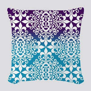 Ombre Purple And Teal Damask Woven Throw Pillow