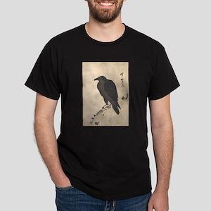 Kawanabe Kyosai Crow Resting on Wood Trunk T-Shirt