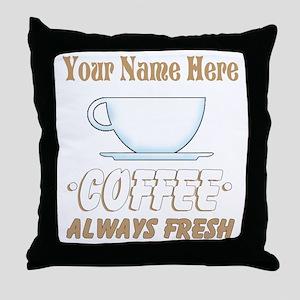 Custom Coffee Shop Throw Pillow