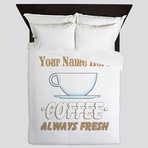 Custom Coffee Shop Queen Duvet