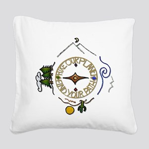 Hiker's Soul Compass Square Canvas Pillow