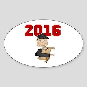 Red Boy Grad 2016 Sticker (Oval)