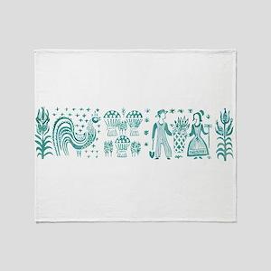 Butterprint - Aqua Throw Blanket
