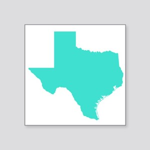 "Turquoise Texas Outline Square Sticker 3"" X 3"