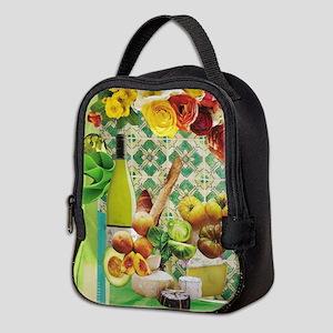 Green & White Mexican Tile Neoprene Lunch Bag