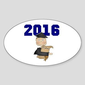 Blue Male Grad 2016 Sticker (Oval)