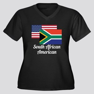 American And South African Flag Plus Size T-Shirt