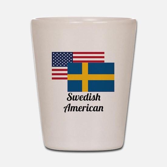 American And Swedish Flag Shot Glass