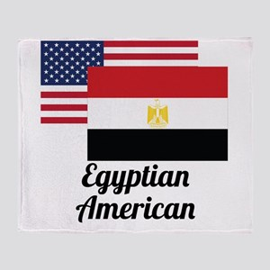 American And Egyptian Flag Throw Blanket