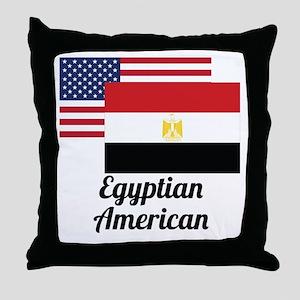 American And Egyptian Flag Throw Pillow