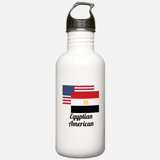 American And Egyptian Flag Water Bottle
