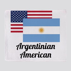 American And Argentinian Flag Throw Blanket