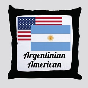 American And Argentinian Flag Throw Pillow