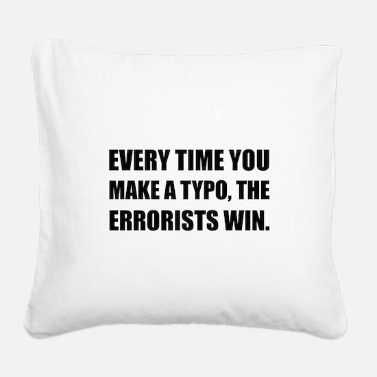 Typo Errorists 2 Square Canvas Pillow