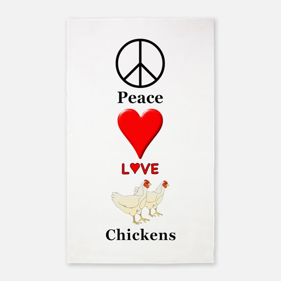 Peace Love Chickens Area Rug