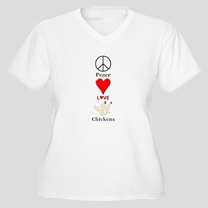 Peace Love Chicke Women's Plus Size V-Neck T-Shirt