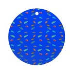 Scatter Wrasses pattern on blue Round Ornament