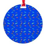 Scatter Wrasses pattern on blue Ornament