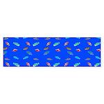Scatter Wrasses pattern on blue Bumper Sticker