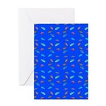 Scatter Wrasses pattern on blue Greeting Cards
