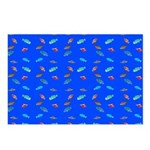 Scatter Wrasses pattern on blue Postcards (Package