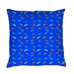 Scatter Wrasses pattern on blue Everyday Pillow