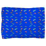 Scatter Wrasses pattern on blue Pillow Sham