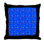 Scatter Wrasses pattern on blue Throw Pillow