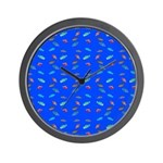 Scatter Wrasses pattern on blue Wall Clock