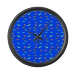 Scatter Wrasses pattern on blue Large Wall Clock