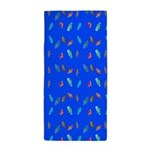 Scatter Wrasses pattern on blue Beach Towel