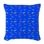 Scatter Wrasses pattern on blue Woven Throw Pillow