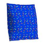Scatter Wrasses pattern on blue Burlap Throw Pillo