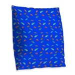 Scatter Wrasses pattern on blue Burlap Throw Pillo