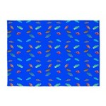 Scatter Wrasses pattern on blue 5'x7'Area Rug