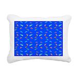 Scatter Wrasses pattern on blue Rectangular Canvas