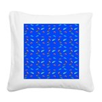 Scatter Wrasses pattern on blue Square Canvas Pill