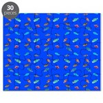Scatter Wrasses pattern on blue Puzzle