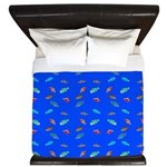 Scatter Wrasses pattern on blue King Duvet