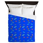 Scatter Wrasses pattern on blue Queen Duvet