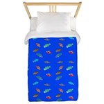 Scatter Wrasses pattern on blue Twin Duvet